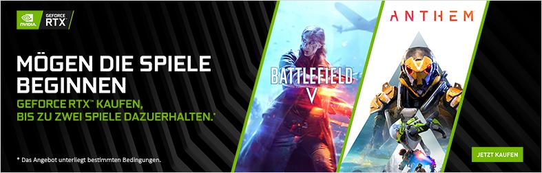 NVIDIA® GeForce RTX™ Aktion mit Battlefield V und Anthem