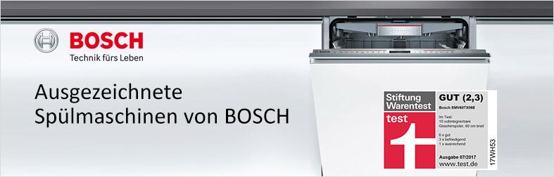 Ausgezeichnete Spülmaschinen von Bosch