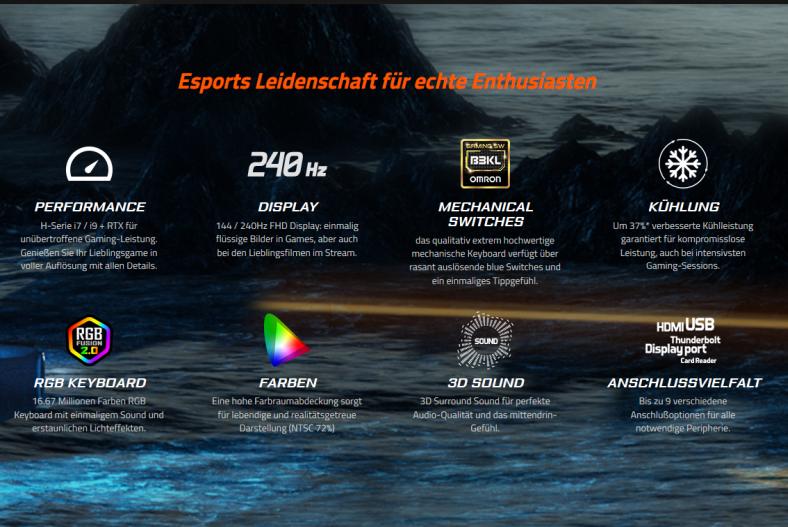 Technische Daten Gigabyte Gaming-Laptops