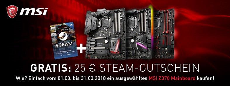 MSI Z370 Gaming-Mainboards mit Steam Gutschein