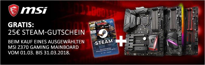 Jetzt MSI Z370 Aktions-Mainboard kaufen und 25,- € Steam-Gutschein sichern!
