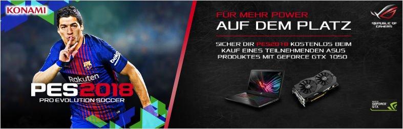 Gratis PES 2018 mit ausgewählten ASUS GeForce GTX 1050 / Ti Produkten
