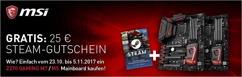 MSI Z270 Gaming-Mainboards mit Steam Gutschein