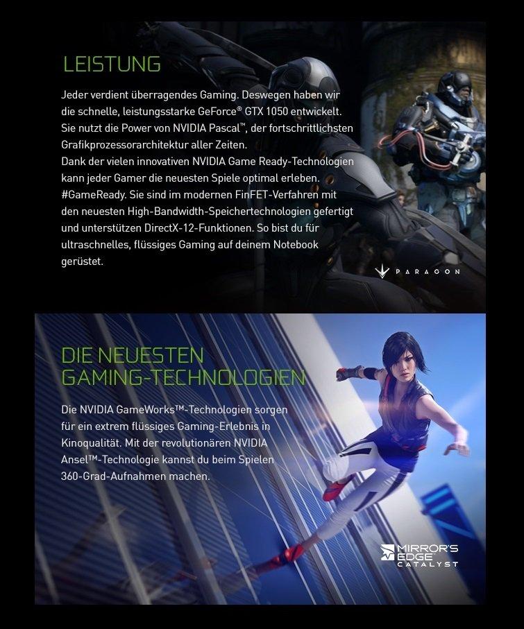 Die neuen NVIDIA Geforce® GTX 1050 Notebooks